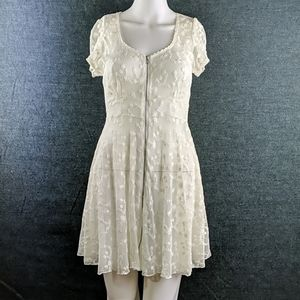 Forever 21 Sheer Lace Zip Front Dress